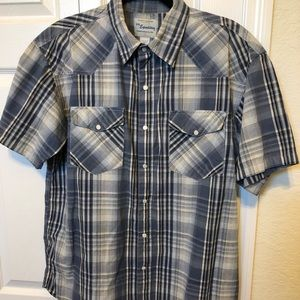 Men's western pearl snap button down shirt Lrg